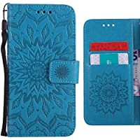 Ougger Funda Xiaomi Redmi Y1 (Note 5A) Carcasa, Flores Floreciendo Cuero Tapa Suave Silicona Fundas Piel Billetera Magnética Protector Cover Xiaomi Redmi Note 5A con Ranura para Tarjetas (Azul)
