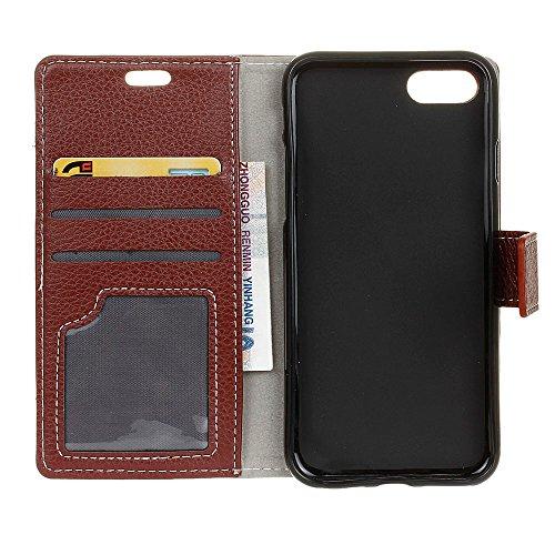 UKDANDANWEI Apple iPhone 7 Bookstyle Litchi Muster Magnetverschluss PU Leder Wallet Case Flip Cover Hülle Tasche Schutzhülle mit Standfunktion Kartenfächer für Apple iPhone 7 - Schwarz Braun