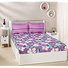 Amazon Brand - Solimo Floral Swirls 144 TC 100% Cotton Double Bedsheet with 2 Pillow Covers, Purple
