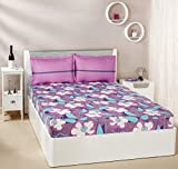 #3: Solimo Floral Swirls 144 TC 100% Cotton Double Bedsheet with 2 Pillow Covers, Purple