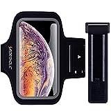 PORTHOLIC Schweißfest Sport Armband Fitness für iPhone XS MAX Mit Schlüsselhalter,Kabelfach,Kartenhalter für Laufen,Joggen-Sc