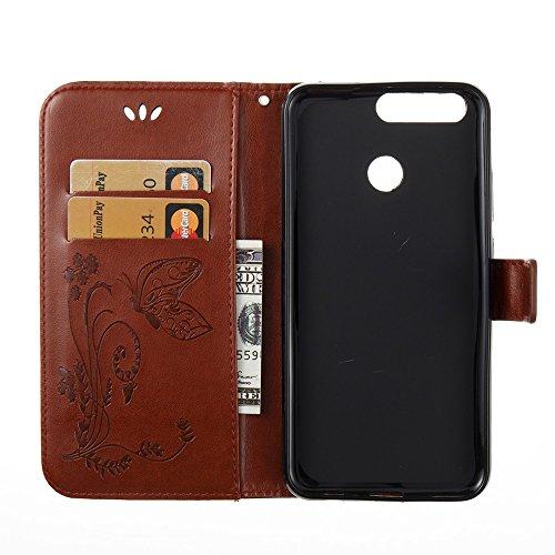 EKINHUI Case Cover Horizontale Folio Flip Stand Muster PU Leder Geldbörse Tasche Tasche mit geprägten Blumen & Lanyard & Card Slots für Huawei Hornor V9 ( Color : Gray ) Coffee