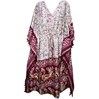 Mogul Interior Womens Kaftan Maxi Dresses Purple Printed Kimono Lounger Caftan One Size