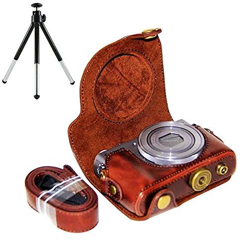 first2savvv XJPT-G9X-10 Brun foncé PU Cuir étui Housse Appareil Photo numérique pour Canon PowerShot G9X G9 X + trépied