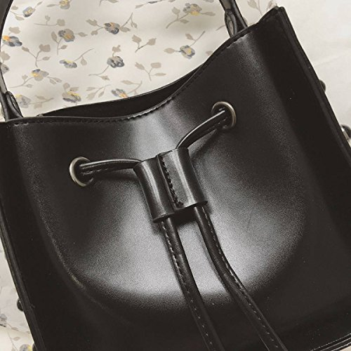 Frau Farbe Nieten Pumpen Mit Einem Eimer Tasche 2017 Mode Handtasche Schulter Messenger Bag Green