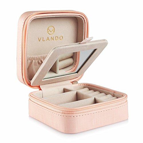 Vlando Kleine Faux Leder Reisen Schmuck Box Organizer Display Aufbewahrungsbox Fall für Ringe Ohrringe Halskette mit Spiegel(Rosa) -