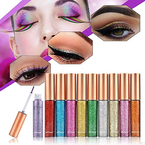 b880153ef DEAR Glitter Liquid Eyeshadow & Eyeliner Set 10 Colors, Eye Art Lid,