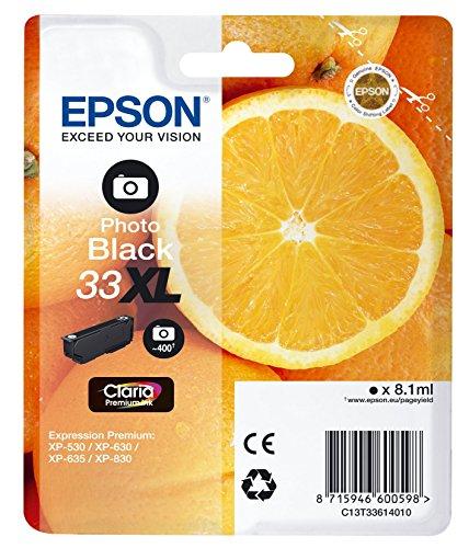 Epson 33 XL Serie Arancia Cartuccia Originale, XL, Nero Foto, con Amazon Dash Replenishment Ready