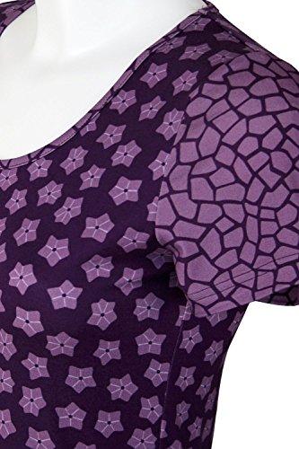 fashion4EVA Rundhals-Kurzarmshirt Mustermix Made in Germany Streublumen grape royal