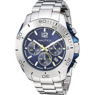 Nautica Men's 'Andover' Quartz Stainless Steel Casual Watch, Color:Silver-Toned (Model: NAPADR004)