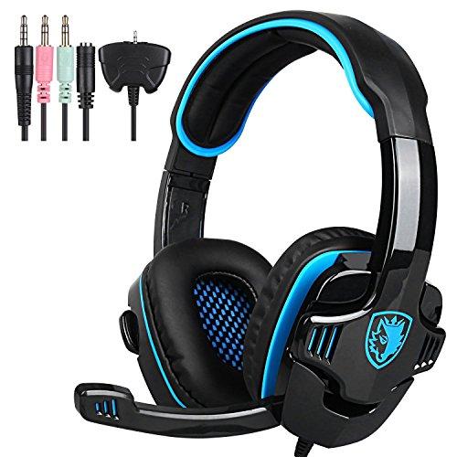 SADES SA-708GT 3.5mm Gaming Kopfhörer Mic Noise Cancellation Musik Headset Schwarz-blau Upgrade Version von SA-708 für PS4 XBOX 360 Tablet PC Handys (Sades Gaming Headset Xbox 360)