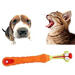 AST Works Toothbrush 3 Head Dog Cat Pet Animals Toothbrush Deep Clean Teeth Brush Dental