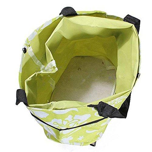 Räder Warenkorb Einfach (dahanbl Green Flower Travel Large Einkaufstasche Trolley Dual Rad zusammenklappbar Tote)