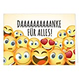 Große Dankeskarte XXL (A4) als Dankeschön/Danke für Alles - Viele Smileys/mit Umschlag/Edle Design Klappkarte/Danke sagen/Danksagung/Danke sehr/Extra Groß/Edle Maxi Gruß-Karte