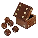 Fine Craft India Wooden Dices Game Set of 5 Dices with Beautiful Dice Box Case MN-wooden_dice_box_1