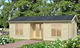 Wochenendhaus Prunus P16 inkl. Fußboden, naturbelassen - 70 mm Blockbohlenhaus, Grundfläche: 26,80 m², Satteldach