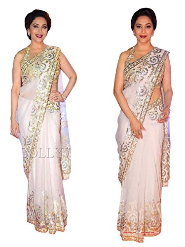 Sarees ( White Color Net Fabric Embrodiery Saree, New Arrival Latest Best...