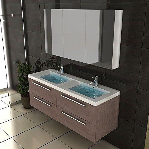 Badezimmer Möbel / Waschbecken / Doppelwaschtisch / Badmöbel / Unterschrank / Waschplatzlösung / Modell Garda-1440 / Farbe: Braun / Waschtisch - 4