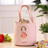 Lunch Bags Saingace Living Box New Fashion Little Girl Print Insulation Picnic Tote Convenient Portable Lunch Packet (Pink)