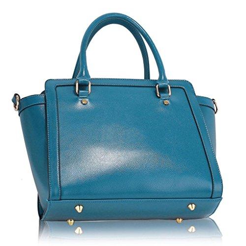 LeahWard Damen Zweifarbige Shaped schönes Elegante Handtaschen Tote Taschen Blau Texture