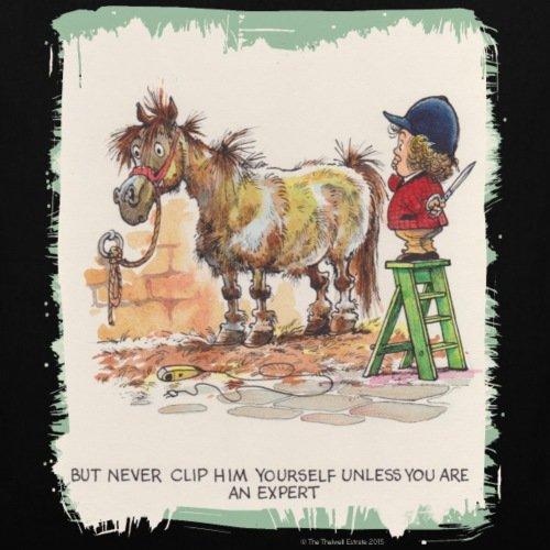 Spreadshirt Thelwell Pferd Beim Friseur Stoffbeutel Schwarz