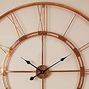 Craftter Handmade Metal Wall Clock By Craftter: Large Iron Decorative Art Piece With Copper Colour , 750Mm Numerals