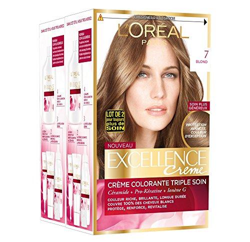 L'Oréal Paris - Excellence Crème - Coloration Permanente Triple Soin 100% Couverture Cheveux Blancs - Nuance 7 Blond - Lot de 2