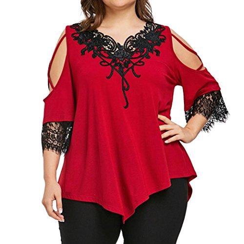 �e Größe Frauen Spitze Schulterfrei T-Shirt Kurzarm Casual Top Bluse V-Ausschnitt Tops Casual T Shirt Oberteile(Rot,XL) (Plus Size Kostüme Tragen)