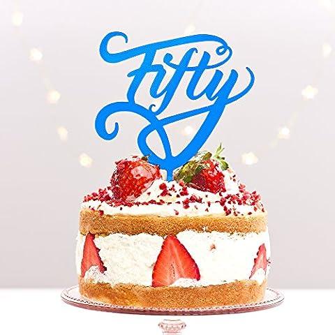 Fifty 5050e anniversaire de fête d'anniversaire Âge 50e anniversaire de mariage Doré Acrylique pour gâteau