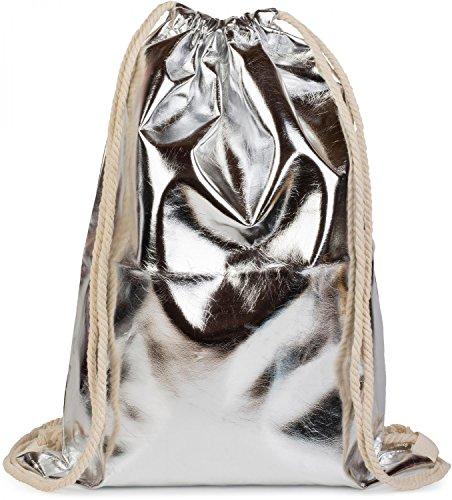Damen Jute (styleBREAKER Turnbeutel im Metallic Look, Sportbeutel, Rucksack, Beutel, Unisex 02012117, Farbe:Silber Metallic)