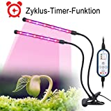 ESTGOUK LED Pflanzenlampe,24W Dual Head Plant Growth Light, Auto ON & OFF Jeden Tag Patentierte Timer,Dimmbar 5 Lichtstärken,4/8/12H Speicher Timing für Hydrokultur Greenhouse Gardening
