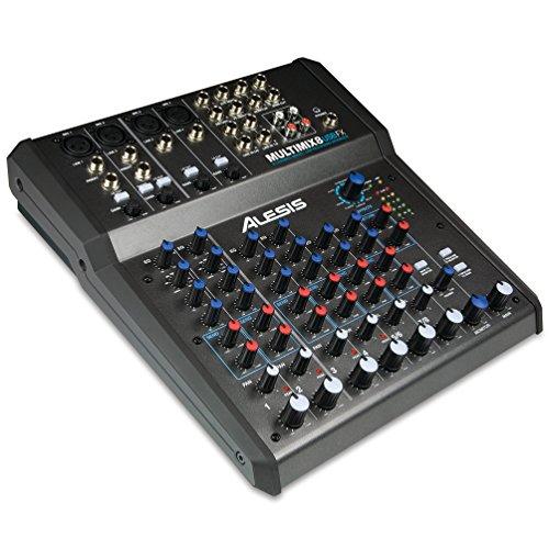 Alesis MultiMix 8 USB FX - Mesa de mezcla de 8 canales con efectos, interfaz de audio USB y entradas de micrófono, línea y guitarra, mezclador de estudio, incluye Cubase LE