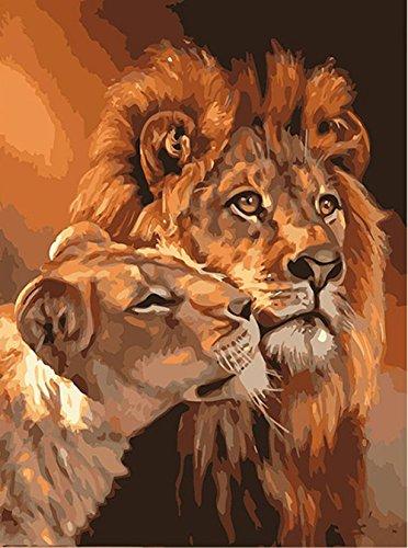 Sans Cadre coloré Chat DIY Peinture par numéro abstrait moderne Décoration murale Tableau, Toile, Lions, Unframed