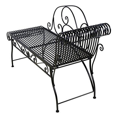 HLC Metall Klassische Bank Gartenbank Liegestuhl aus Eisen 110*44*85 CM - 3
