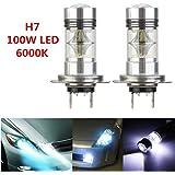 TKOOFN 2pcs Lampes LED Anti-brouillard H7 Sharp 1800LM 100W 20SMD Ampoules Phare Feux de Jour DRL Auto Voiture 6000K