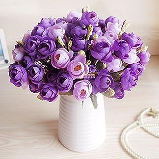 XCZHJ Flores Decorativas Artificiales Jarrón Cerámica Artificial Camelia Estilo Rural Púrpura C Los Productos de Flores Incluyen:Flores Artificiales,Flores Artificiales Blancas.