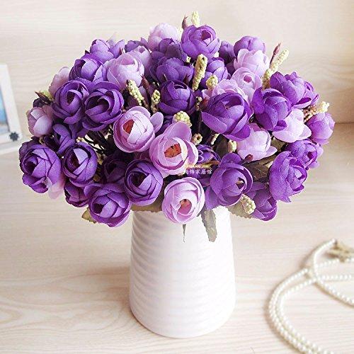 XCZHJ Flores Decorativas Artificiales Jarrón Cerámica Artificial Camelia Estilo Rural Púrpura C Los Productos de Flores…