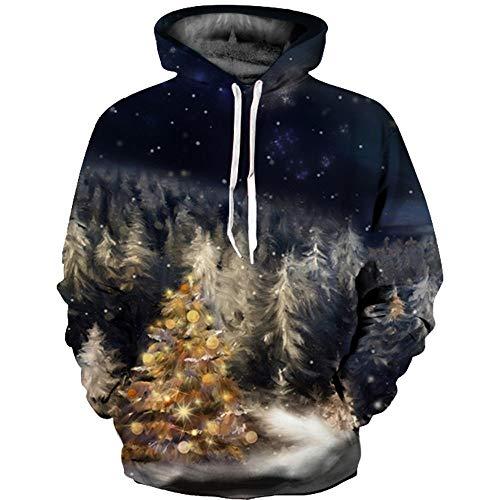 SEWORLD Weihnachten Sweatshirt Kapuzenpulli im Freien Damen Langarm Warmer mit Kapuze Sport Lose Drucken Outwear Pullover Tops Bluse(X2-mehrfarbig2,EU-48/CN-2XL/3XL)