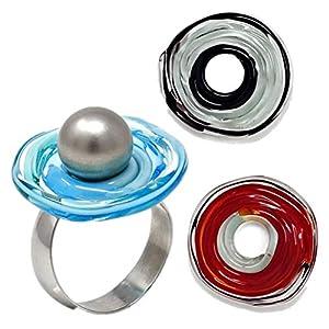 Edelstahl-Ring Set türkis/rot/grau mit 3 Scheiben aus Murano-Glas | Wechsel-Ring | passt immer | verstellbar | Personalisiertes Geschenk für sie zu Valentinstag Jahrestag Geburtstag Mama