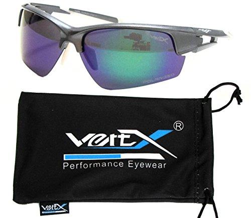 VertX da uomo polarizzati occhiali da sole Sport Ciclismo corsa all' aperto sacchetto in microfibra argento Silver Frame - Blue Lens