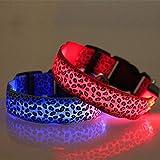Hundehalsband mit LED, leuchtet im Dunkeln, blinkendes Licht, verstellbar, wasserfest, batteriebetrieben