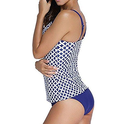 Scothen Damen Padded Bikini-Set Streifen zweiteilig Swimwear Beachwer Bikini Set Streifen zweiteilig Schwimmanzug Tankini Bademode Strand Bikini Oberteile + Höschen Oversize Tankini Sets Badeanzug Blau