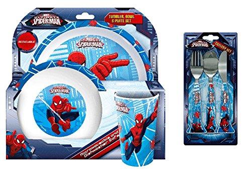 Spiderman, 6stoviglie piatti e posate