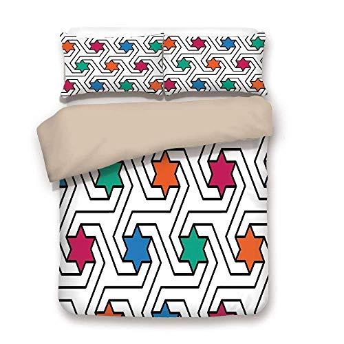 e, bunte Sterne auf abstrakte Pop-Art-geometrisches Muster moderne Teen Zimmer Rock Punk Thema drucken, Multi, dekorative 3 Stück Bettwäsche Set von 2 Kissen Shams King Size ()