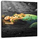 Pixxprint Bella Sirena nella menzogna Acqua 60x60 cm Stampa su Tela Decorazione