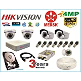 Hikvision 4 Ch Turbo HD Dvr & Mersk Full HD (4MP) CCTV Camera Kit with All Required Accessories (2 TB Hard Disk) Note : No Installation Service