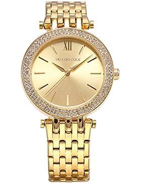 Taylor Cole Damen Armbanduhr Analog Quarz Golden Edelstahl