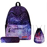 3PCS /set Women Stars Universe Space Backpack School Bags For Teenage Girls Shoulder Drawstring Bags Travel Students Polyeste