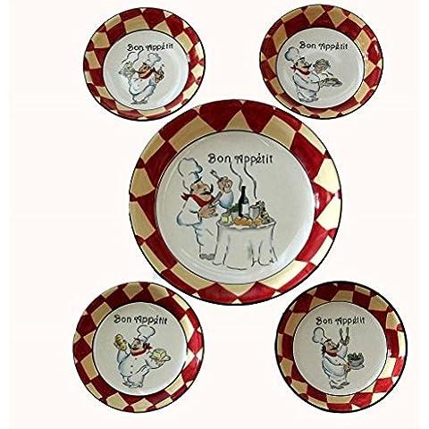 Bon Appetit Chef Ceramic Pasta Set 5 Piece Bowl Set by Table Top