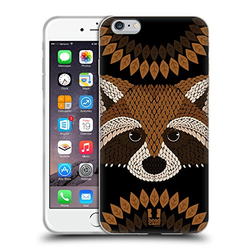 Head Case Designs Raccoon Animal Leaf Mosaic Soft Gel Case for Apple iPhone 6 Plus/6s Plus